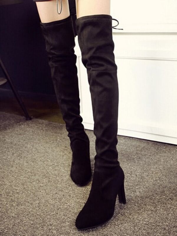 265faead55 Black Pointy Over The Knee High Heeled Boots | SHEIN
