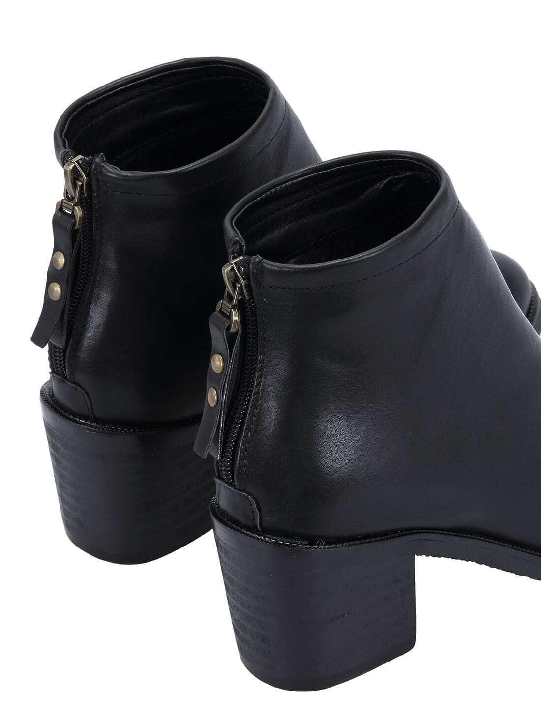 black pointy zipper back pu boots shein sheinside