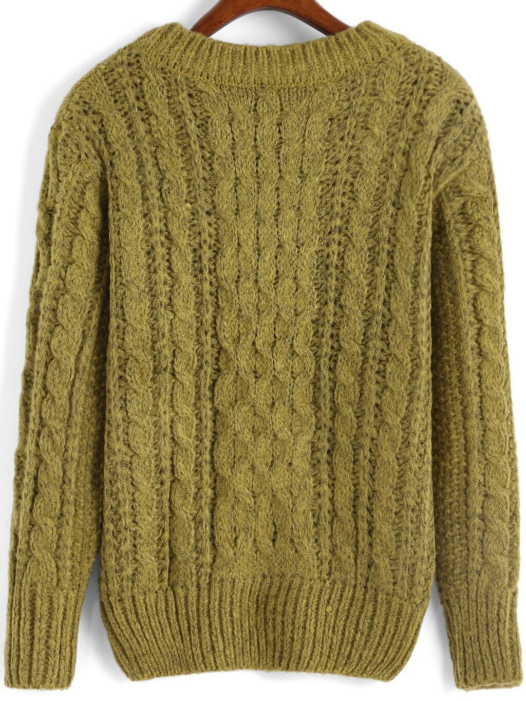 Knitting Sweaters In The Round : Green round neck cable knit sweater shein sheinside