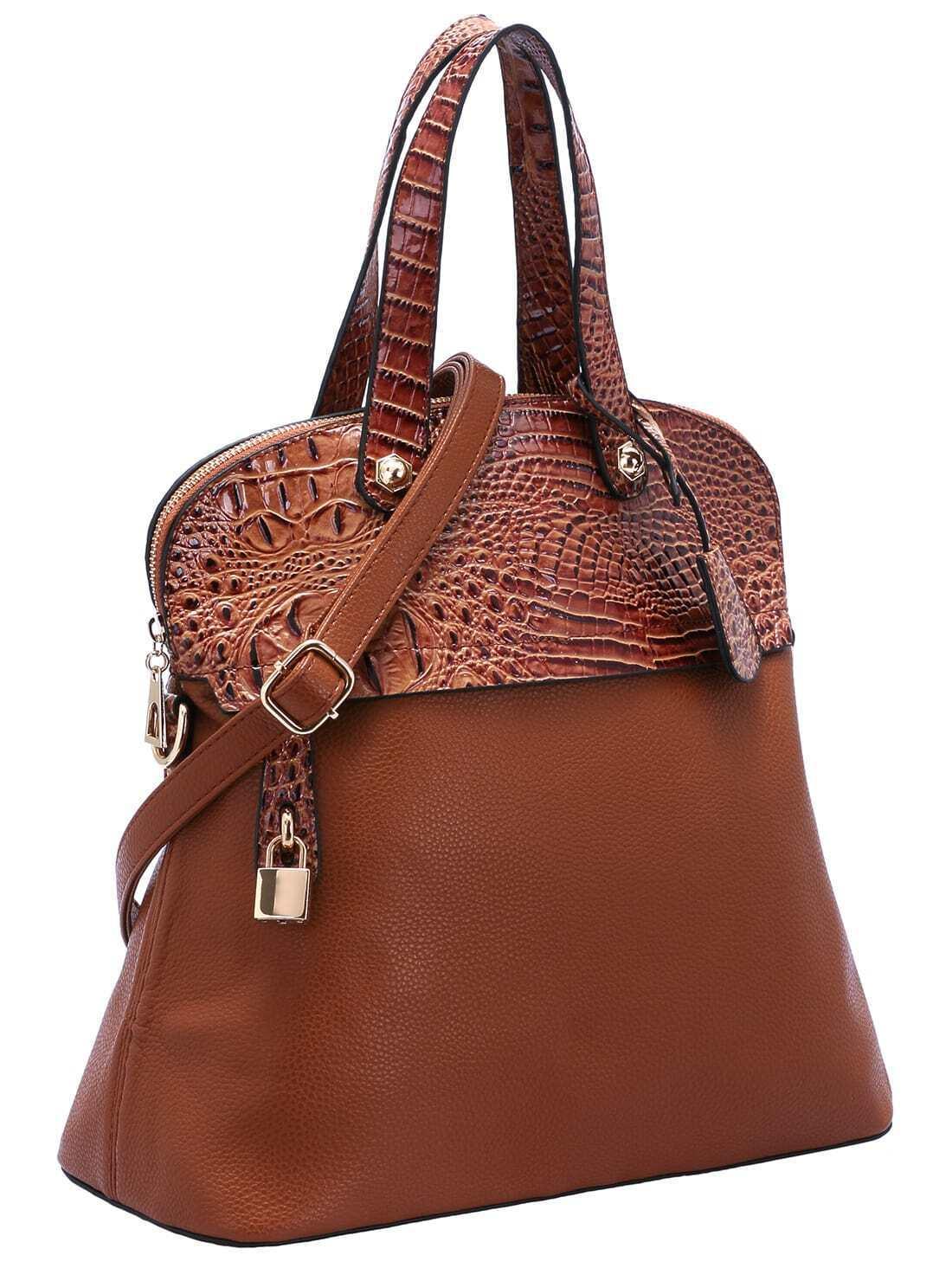 brown zipper lock embellished pu bag shein sheinside. Black Bedroom Furniture Sets. Home Design Ideas
