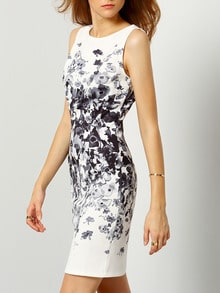 White Sleeveless Vintage Print Dress