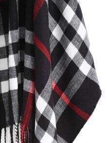 Echarpe à carreaux avec franges -noir blanc-French SheIn(Sheinside) 72b35b876c3