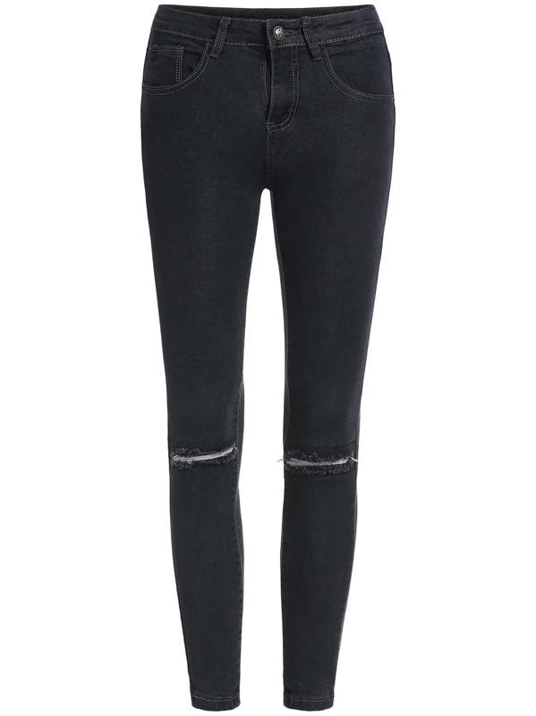 42e63c7e31d Pantalón rotos denim -negro | SHEIN ES