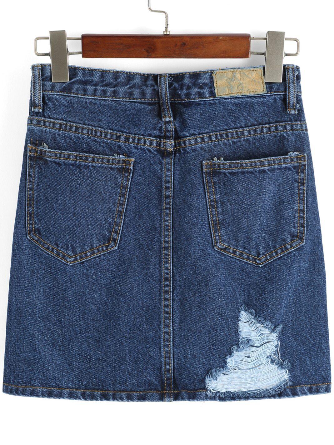jupe en jean d chir avec poches bleu french shein sheinside. Black Bedroom Furniture Sets. Home Design Ideas