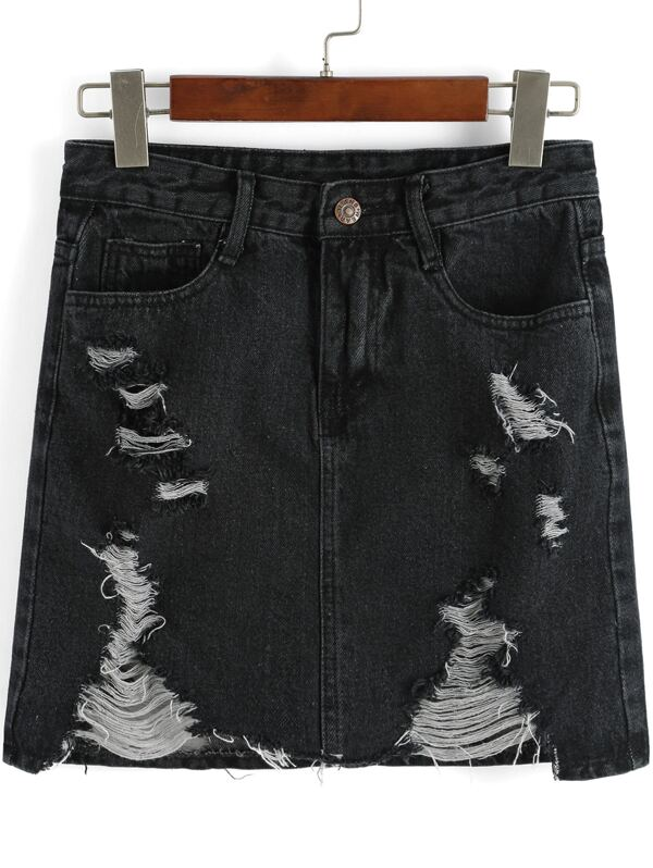 7f253f938a Cheap Black Pockets Ripped Denim Skirt for sale Australia | SHEIN