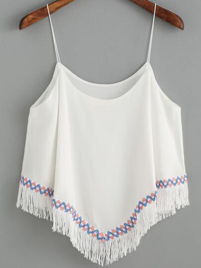 9663f1993589d بلايز شيفون أبيض مع شرابة حزام السباغيتي