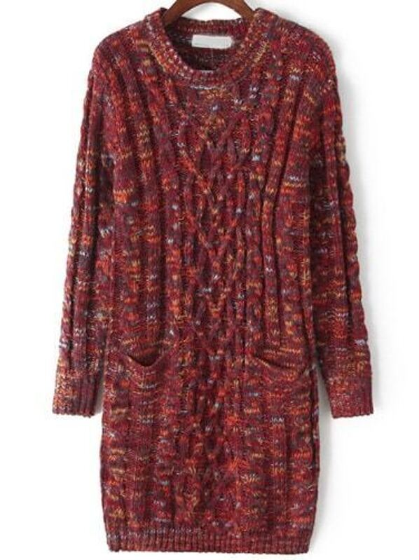 86c4e5db8de Red Round Neck Pockets Cable Knit Sweater Dress -SheIn(Sheinside)
