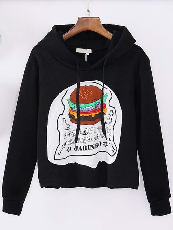 62b3c4bb0f9 Black Hooded Hamburger Print Crop Sweatshirt -SheIn(Sheinside)