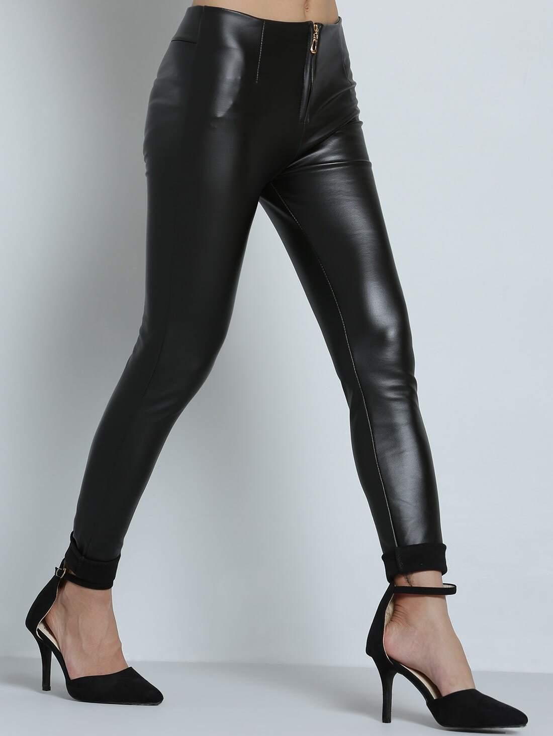 pantalon en simili cuir zipp slim noir french shein. Black Bedroom Furniture Sets. Home Design Ideas