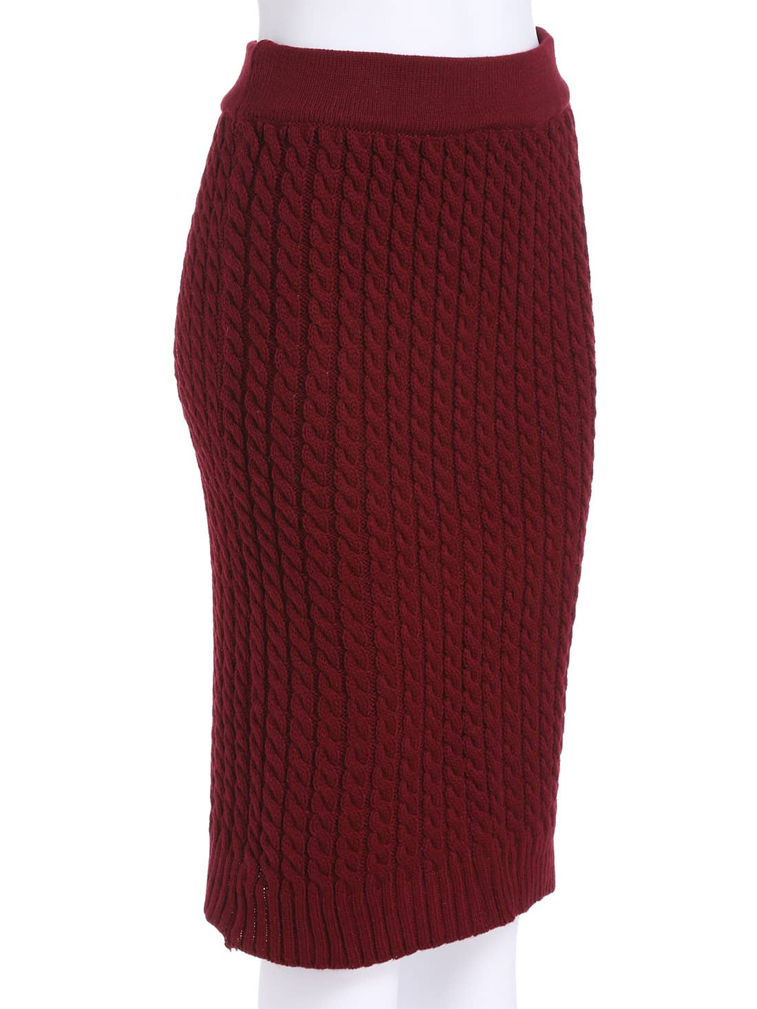Red Slim Cable Knit Skirt -SheIn(Sheinside)