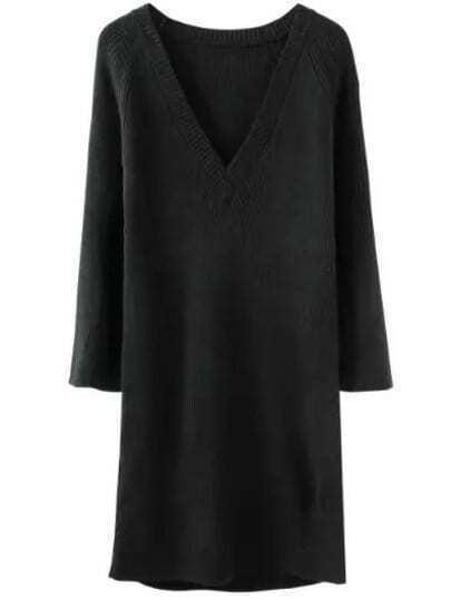 9b6ca7bf13 Black V Neck Long Sleeve Knit Sweater Dress -SheIn(Sheinside)