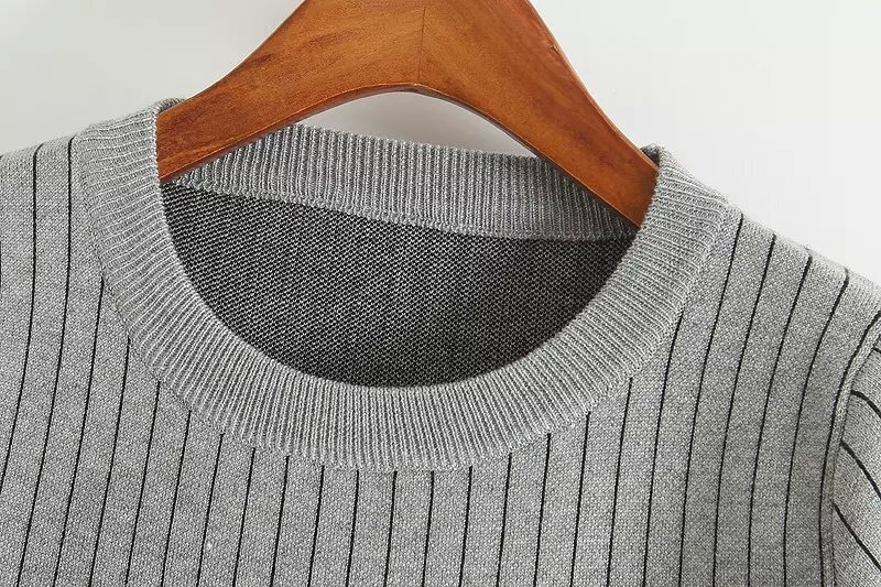 Knitting Vertical Stripes In The Round : Grey round neck vertical stripe tassel knit dress shein