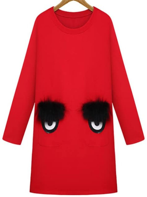 46c97fe14e0 Red Round Neck Eyes Pattern Straight Dress -SHEIN(SHEINSIDE)