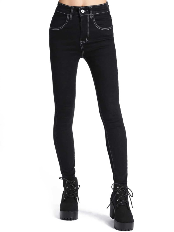 b2679f0fd5 Black High Waist Skinny Denim Pant | SHEIN