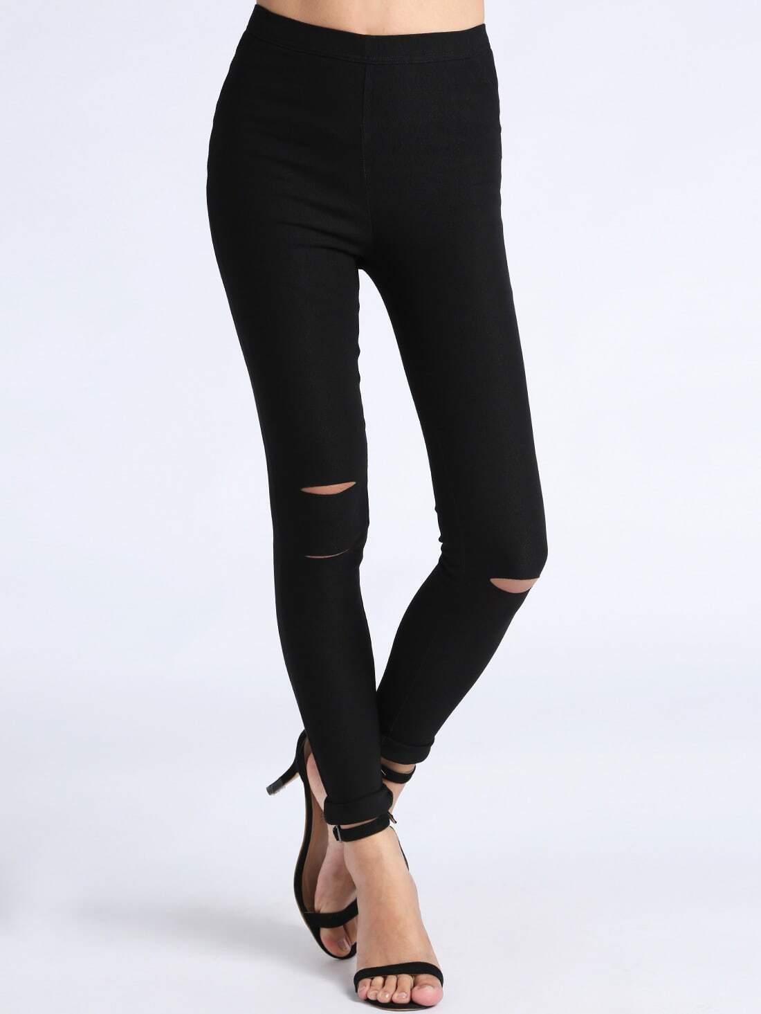 pantalon cut out skinny noir french shein sheinside. Black Bedroom Furniture Sets. Home Design Ideas