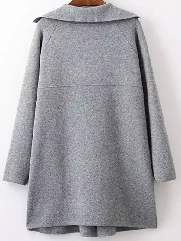 Grey Lapel Long Sleeve Pockets Sweater Coat  bd557aff8