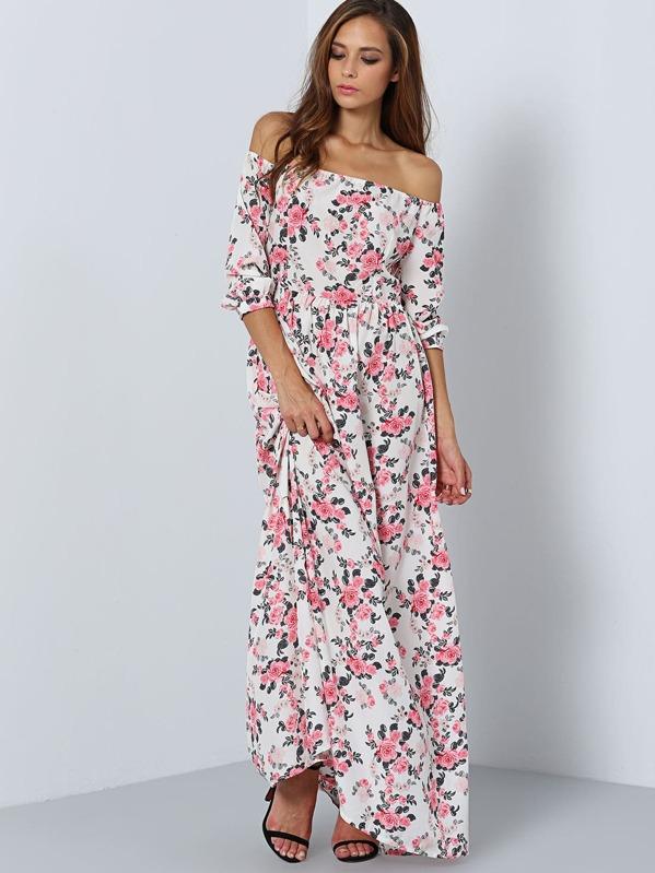 c0e6e25edc Multicolor Off the Shoulder Floral Maxi Dress | SHEIN