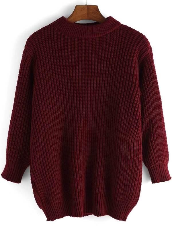 бордовый свободный вязаный свитер Shein