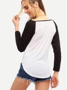 Colour Block Curved Hem T-Shirt pictures