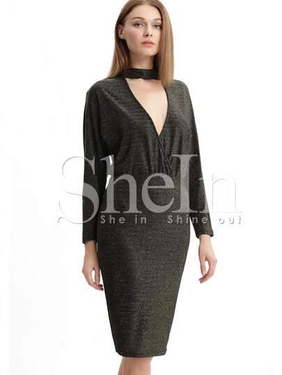 2beda743b65b3f3 Чёрное платье с оригинальным вырезом с длинными рукавами