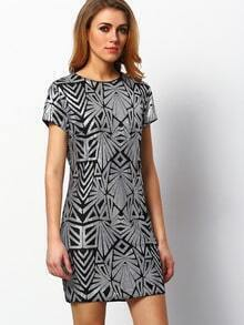 Silver Cap Sleeve Sequined Dress pictures