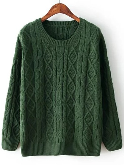 2fc9d16ed91c Green Diamond Patterned Cable Knit Sweater