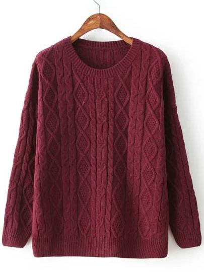 бордовый вязаный свитер с ромбическим узором Shein
