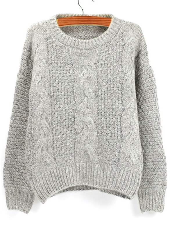 27cb3cbe5c1 Grey Round Neck Chunky Cable Knit Sweater