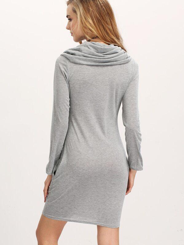 a1bebe8a2576 Grey Cowl Neck Long Sleeve Slim Dress   SHEIN