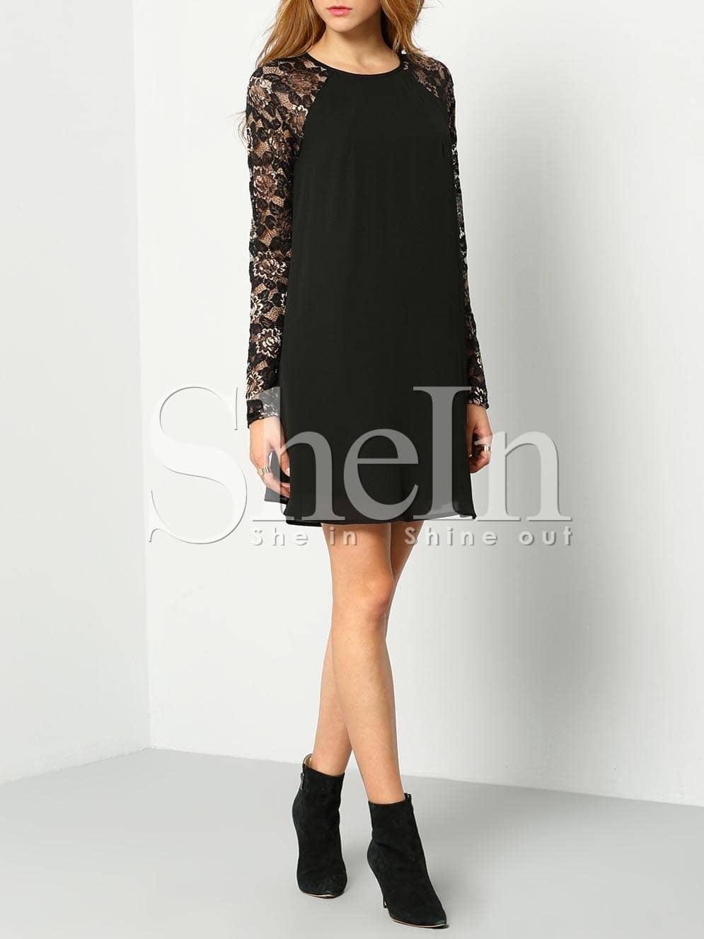 spitzenkleid langarm mit spitzeneinsatz schwarz german shein sheinside. Black Bedroom Furniture Sets. Home Design Ideas