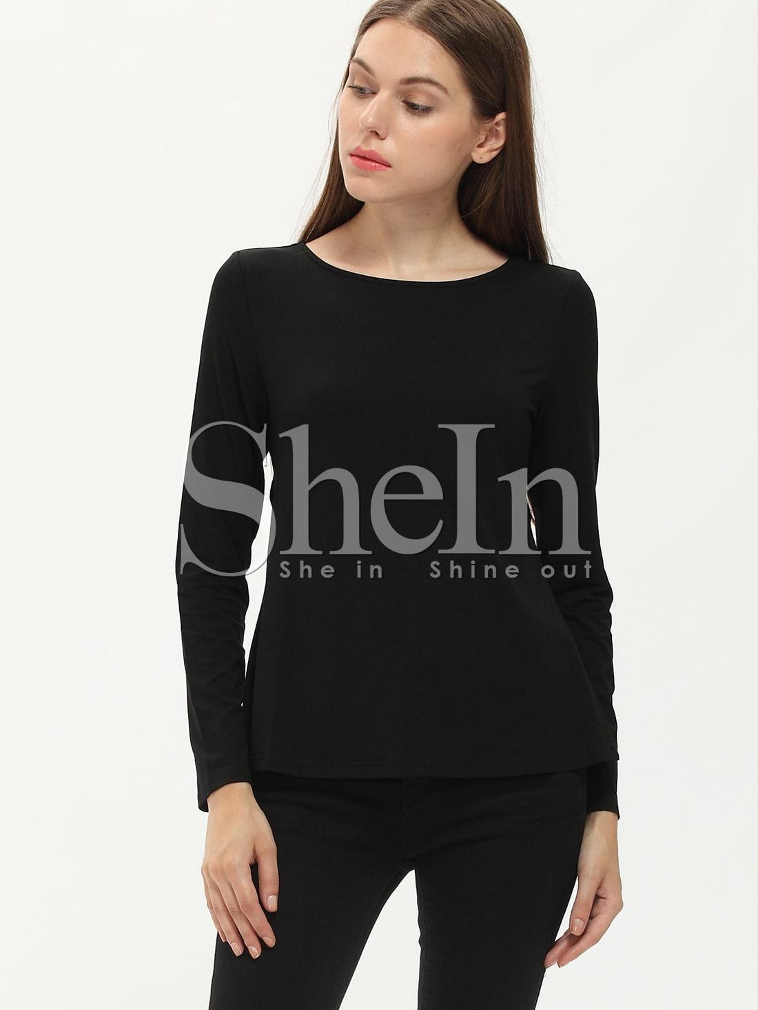 Black Long Sleeve Cut Out T Shirt Shein Sheinside
