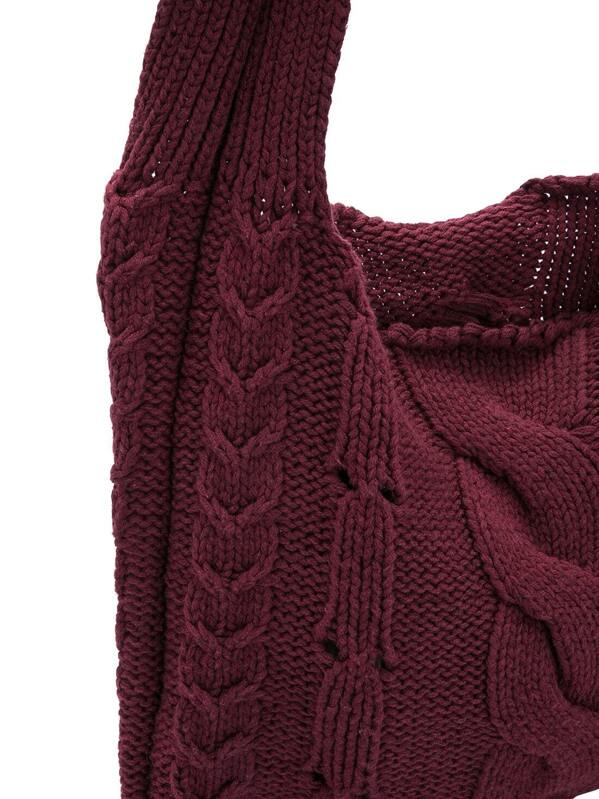 Burgundy Cable Knit Sweater Bag Sheinsheinside