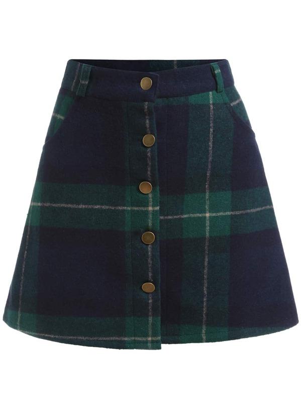 Green Blue Plaid Buttons Skirt Shein