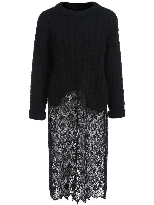 Black Round Neck Cable Knit Lace Sweater Dress Sheinsheinside
