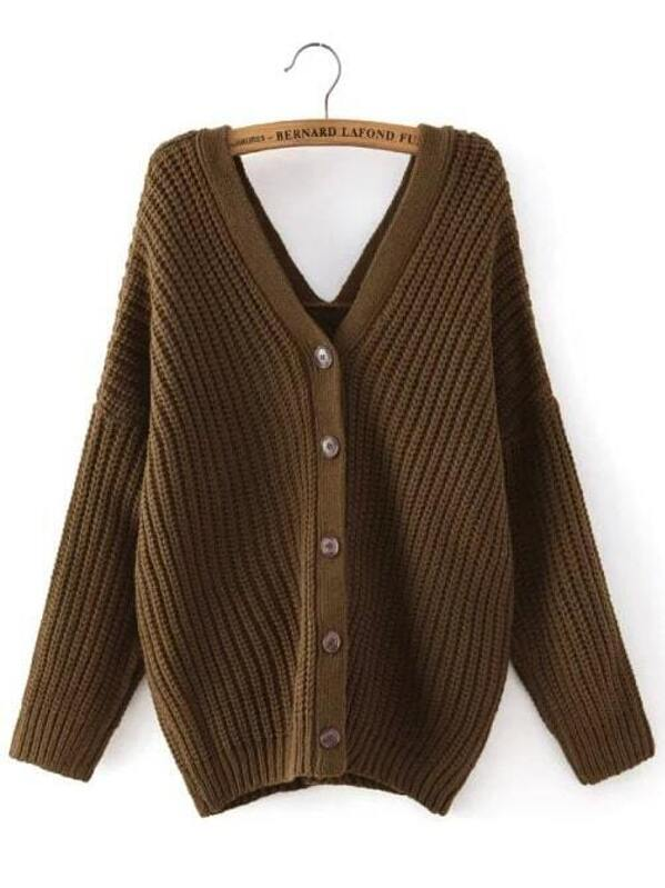 6a08c4779 Army Green V Neck Buttons Cable Knit Sweater -SheIn(Sheinside)