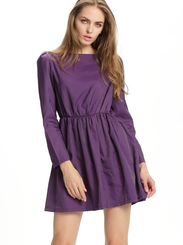 431cdcbdb0f2 Purple Boat Neck Long Sleeve Skater Dress