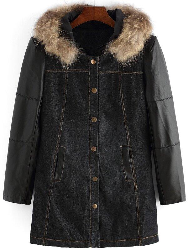 dc13b35a4a Black Faux Fur Hooded Pockets Loose Coat -SheIn(Sheinside)