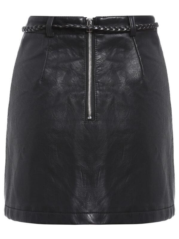 f67c1514b8 Black Belt PU Skirt | SHEIN