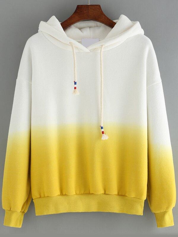 6e55fa21392f Sweat-shirt à capuche dégradé manches longues -jaune-French SheIn(Sheinside)