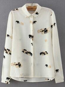 Camicia stampata elefante con risvolto beige