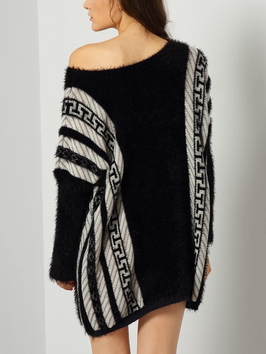 black batwing sleeve striped loose sweater dress shein