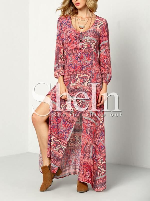 457459195f58 Multicolor Long Sleeve Vintage Print Split Maxi Dress
