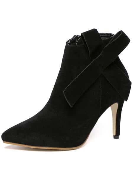 black high heel point toe bow boots shein sheinside