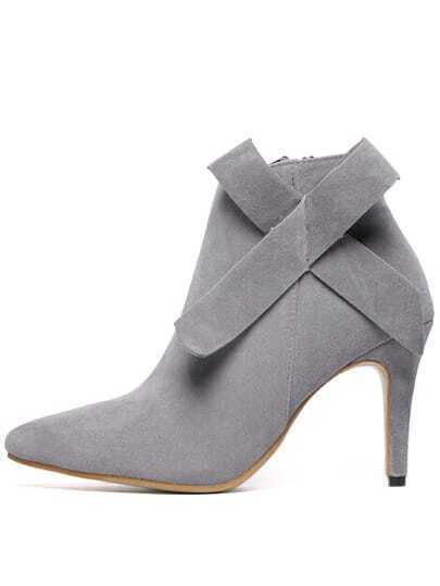 grey high heel point toe bow boots shein sheinside