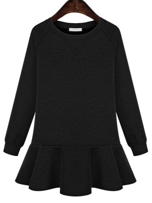 Black Long Sleeve Peplum Hem Jersey Dress Sheinsheinside