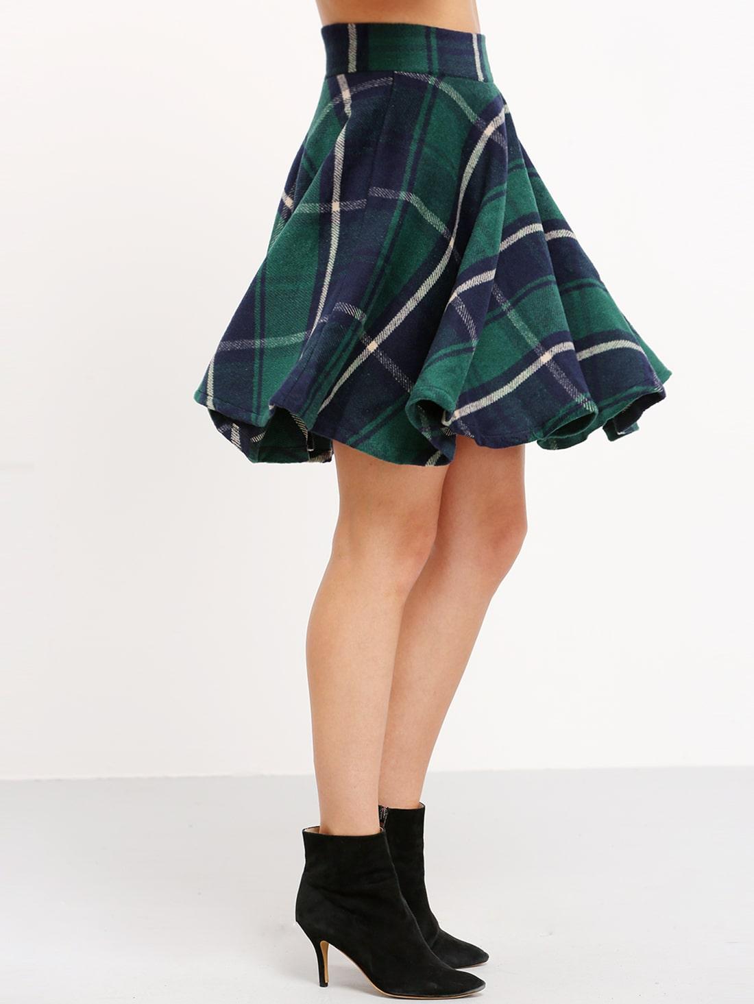 e768758a7 Green High Waist Checkered Skirt | SHEIN UK