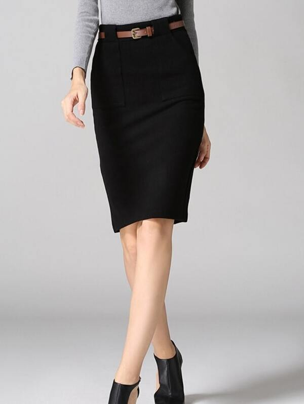 c6effa7eb Black High Waist Pocket Belted Pencil Skirt | SHEIN UK