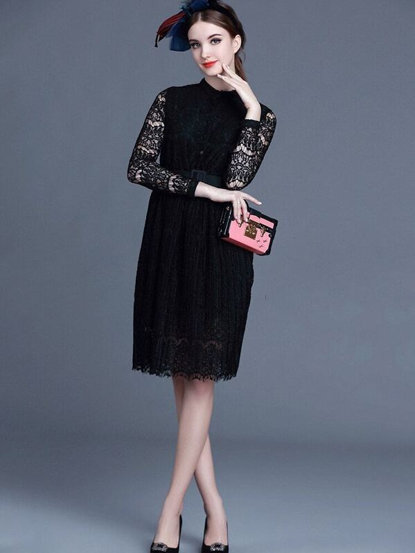 437941be7e Black Round Neck Long Sleeve Drawstring Lace Dress   SHEIN IN