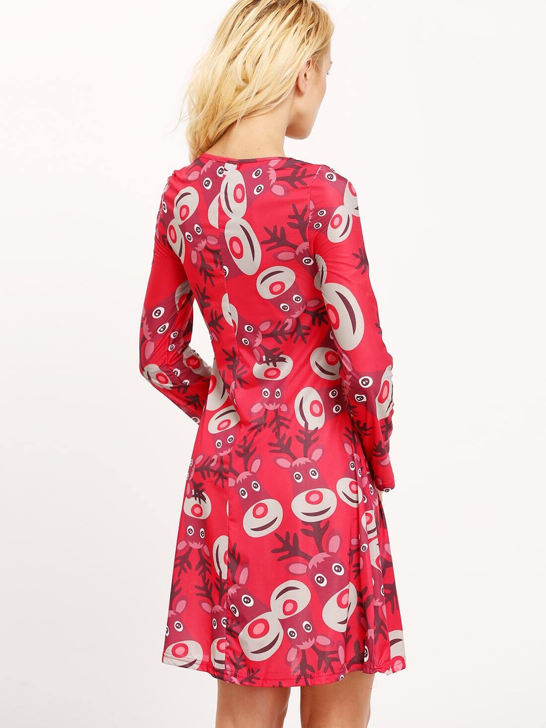 Red long sleeve christmas deer print shift dress shein sheinside