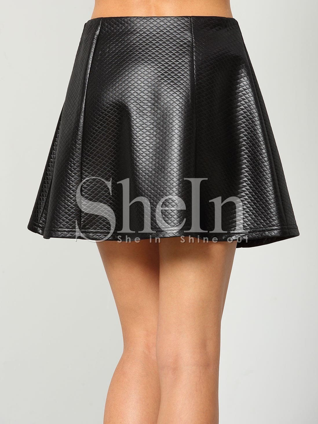 black pu leather a line skirt shein sheinside